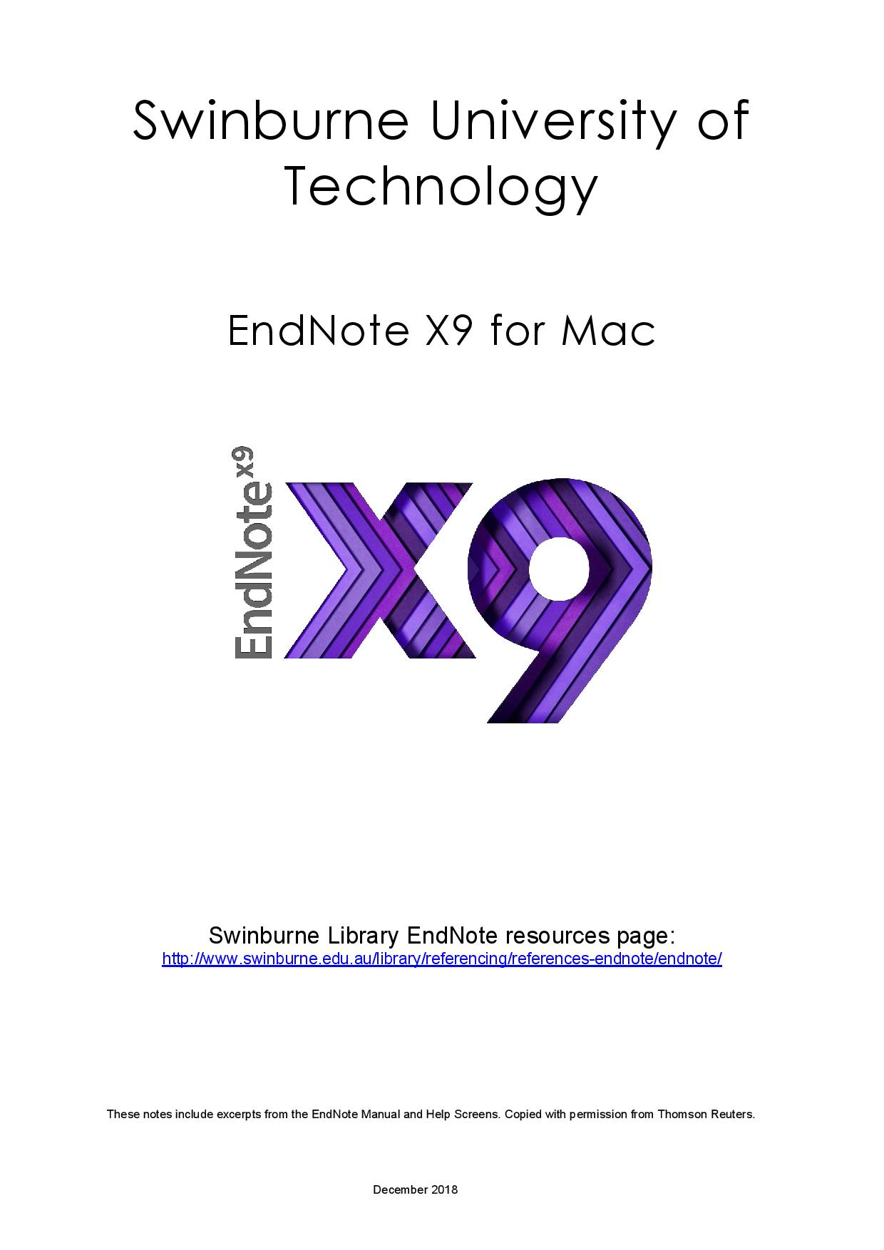 Swinburne Guide to EndNote for desktop (Mac)