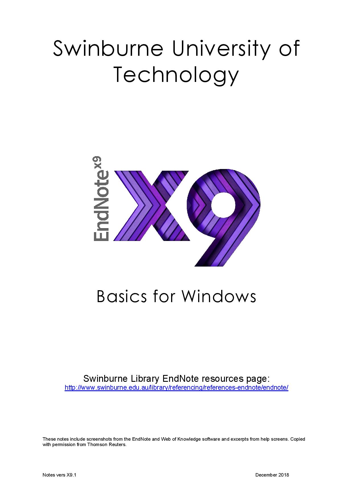 Swinburne Guide to EndNote for desktop (Windows)