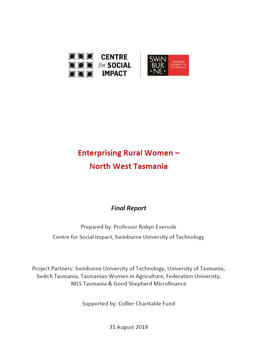Enterprising Rural Women — North West Tasmania: Final Report August 2018