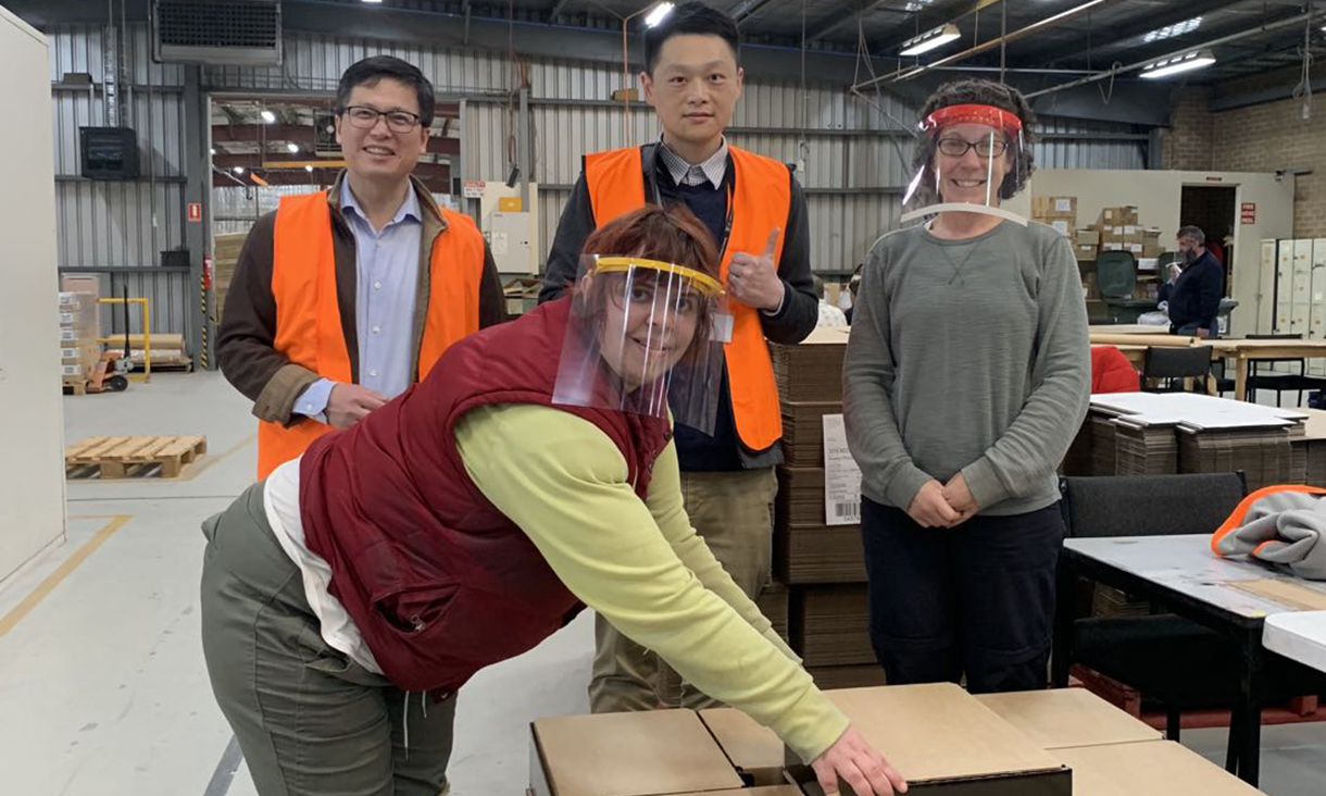 Waverley Industries worker Danielle White (front) with Professor Guoxing Lu, Dr Kwong Ming (KM) Tse and Waverley Industries Group Finance and Corporate Services Manager, Vanessa Steele.