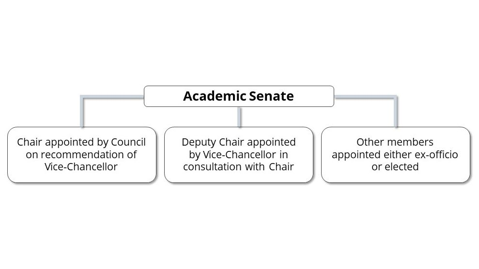 Academic Senate's Chair is appointed by Council on recommendation of Vice-Chancellor. The Deputy Chair is appointed by the Vice-Chancellor in consultation with the Chair. Other members are appointed either ex-officio or elected.