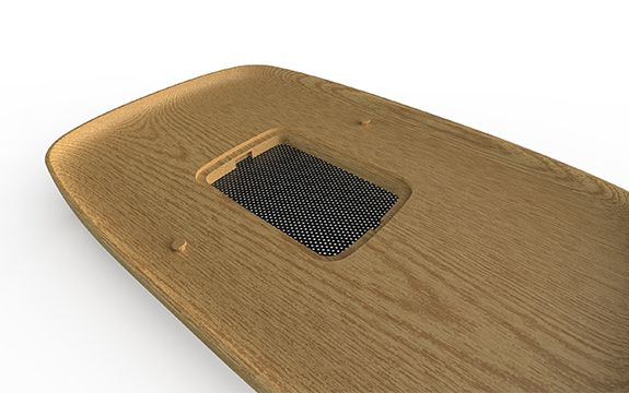 woodgrain base of the architecturally designed dog bed by Timberfly