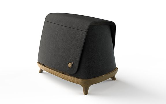Architecturally designed dog bed with woodgrain base and black cover