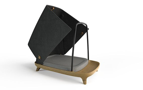dog bed with woodgrain base and black cover in the upright position