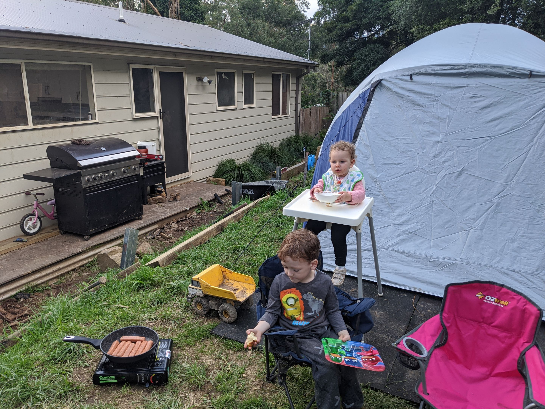 Children of Diploma of Nursing Coordinator, Rachel Gilder camping out in their back yard