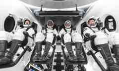 Four astronauts in the SpaceX capsule