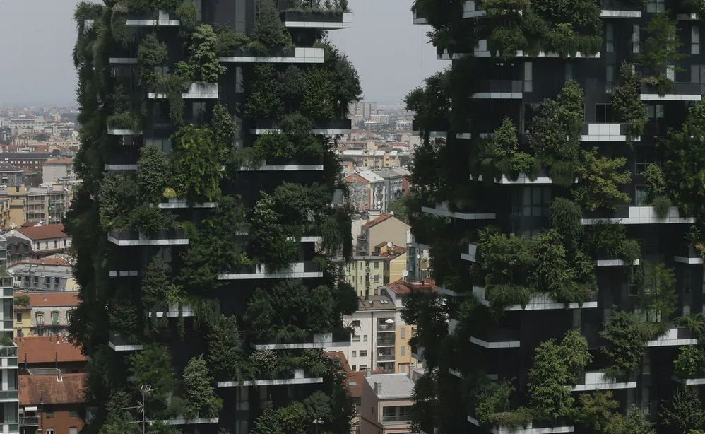 Bosco Verticale apartment building in Milan, Italy. Featuring large amounts of green plants on the exterior