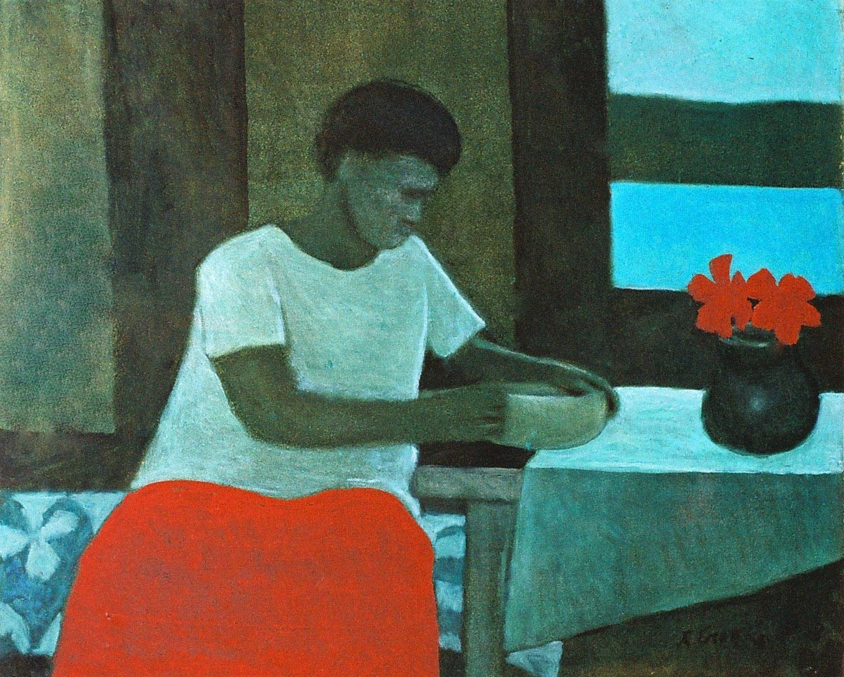 Painting of a woman sitting at a table with flowers