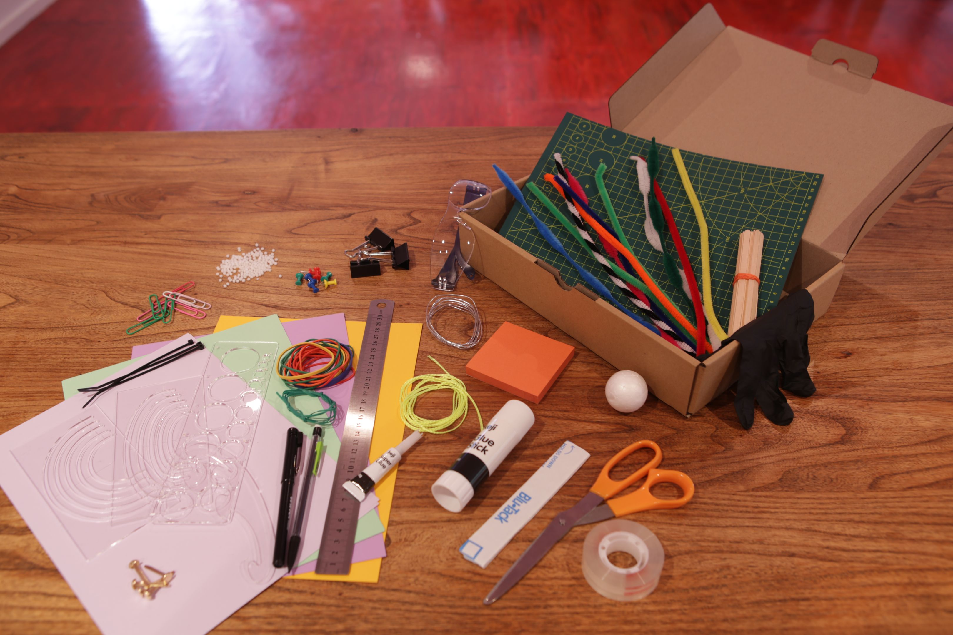 Various craft supplies that make up a prototyping kit.