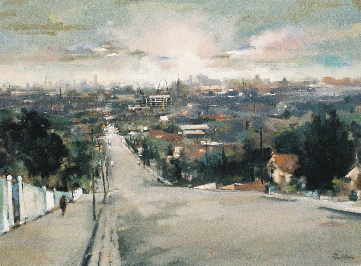 Painting of a street with city skyline visible in background