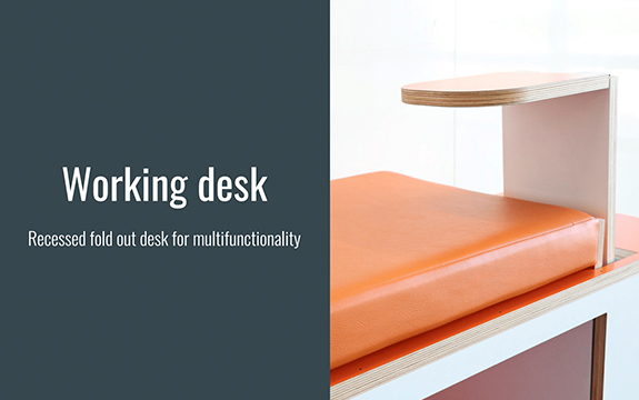 AXON modular bench seat design with desk, demonstrator prototype