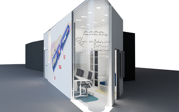 Illustration of exterior view of beamline user cabin design, CODED, by Jing Tan