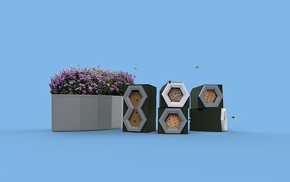 Native bee habitat modules by industrial design student Amelia Henderson Pitman