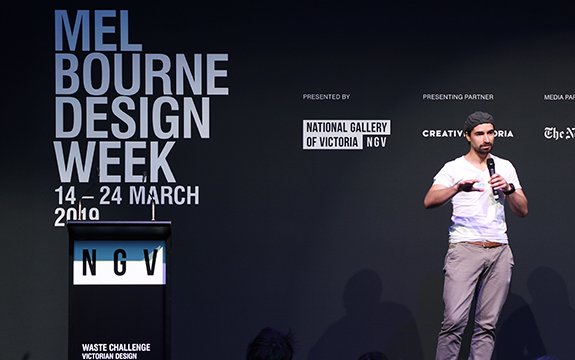Daniel Prohasky presenting Curvecrete at the NGV Design Challenge