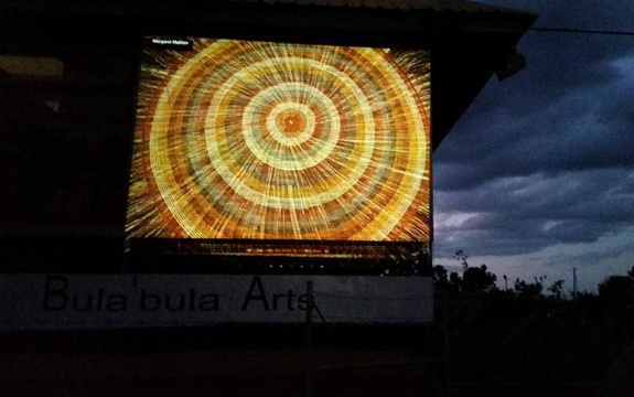 A digital projection of the weaving that indigenous people do