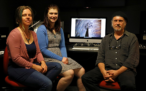 Jenni Aldred (middle) and Andrew Garton (right), with Forged from Fire's on-location production coordinator Rachel Lowe (left).