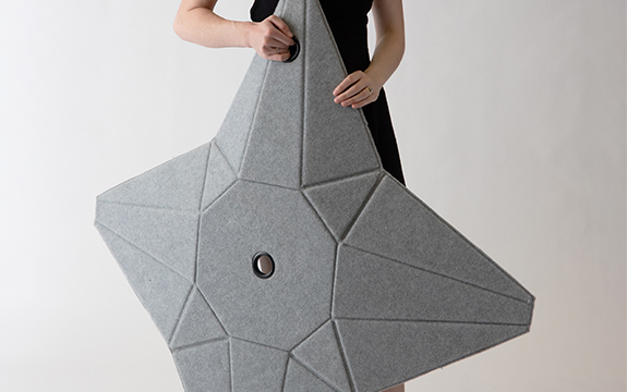Origami-inspired, spatially sensitive furniture by industrial design student James Chapman.