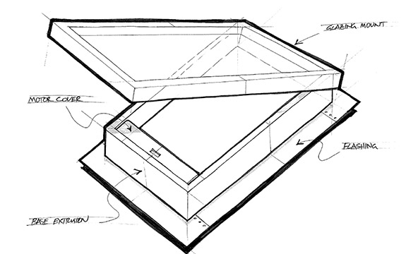 Concept sketch of bushfire rated skylight.