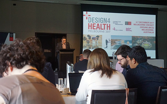 Peter Gambell speaking at Design for Health conference in Melbourne.