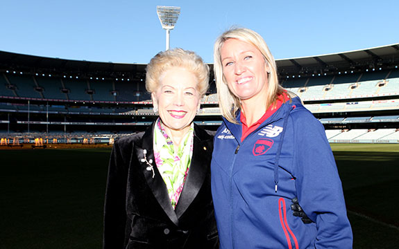 Debbie Lee and Susan Alberti feature on the latest episode. Image credit: Melbourne Football Club.
