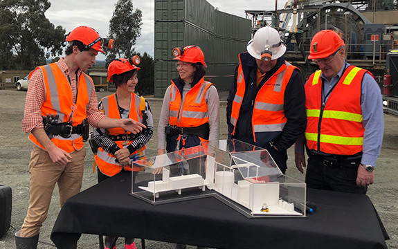 Swinburne Associate Professor Alan Duffy (left) at the site of the future Stawell Underground Physics Laboratory, where Minister for Regional Development Jaclyn Symes (centre) announced the funding.