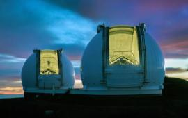 Keck telescopes in the evening