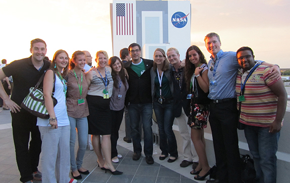 with the teaching assistants she supervised at the NASA Kennedy Space Center