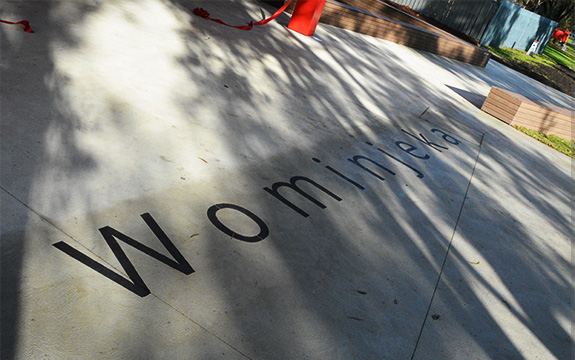 Wominjeka printed on the ground out the front of the Croydon campus entrance