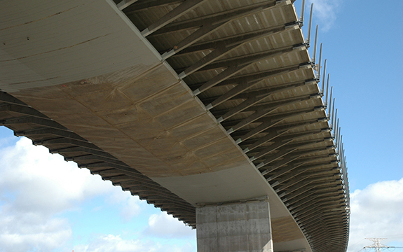 Approach spans of the Westgate Bridge strengthened with fibre reinforced polymers