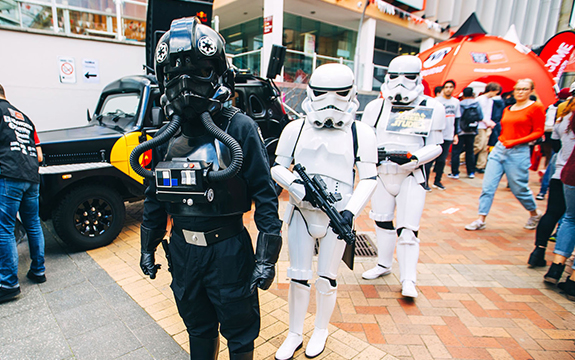 Star Wars fans dressed as Stormtroopers at Swinburne Open Day