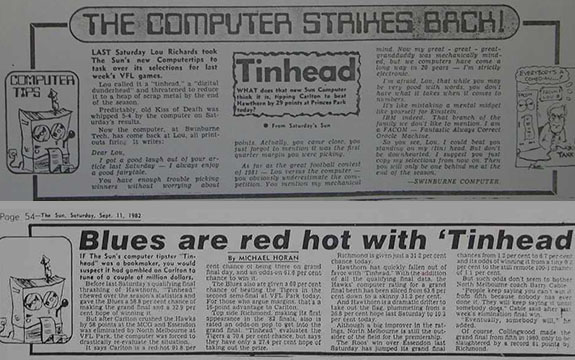 Newspaper clippings about the Swinburne computer.