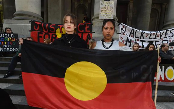 Protesters march against Aboriginal deaths in custody in South Australia. Picture: Sam Wundke