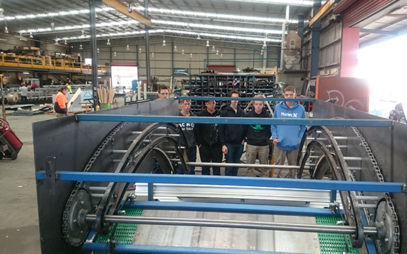 Engineering students worked with a leading supplier of fruit grading, sorting and packing machinery to design a fruit processing machine that will be sold to overseas markets.