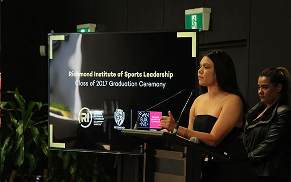 Speaking at Richmond sports leaders graduation.
