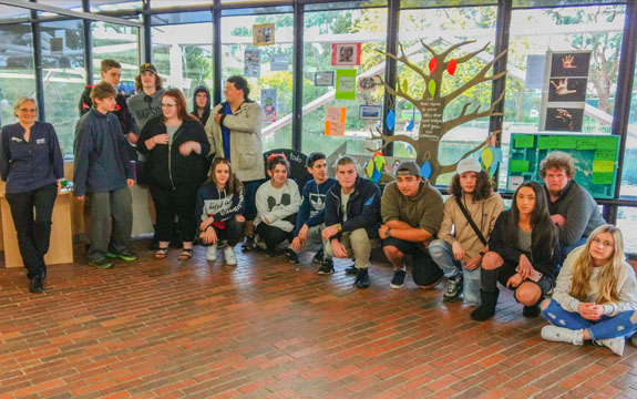 VCAL students at Croydon campus for art project.