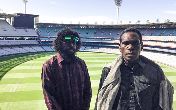 Indigenous students Jasper and Jason at the MCG