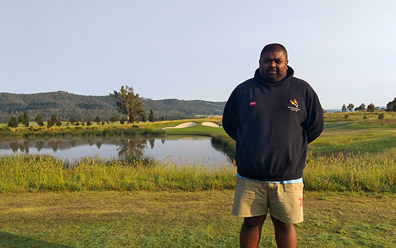 Bivek Inderjeeth cares for the golf course and its surrounds at The Eastern Golf Club.