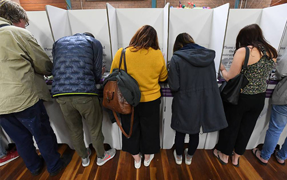Voters at St Kilda in Melbourne on election day last month.