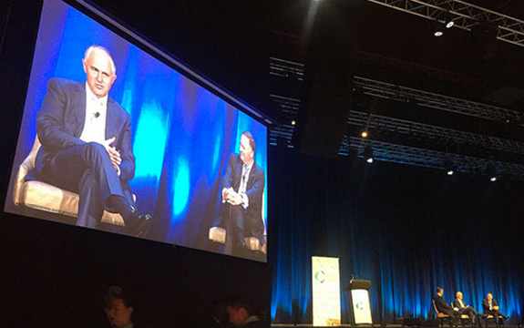 Half measure: Australian prime minister Malcolm Turnbull (left) and NZ prime minister John Key speaking at a Trans-Tasman Business Circle lunch in Sydney on Friday. johnkeypm/Twitter