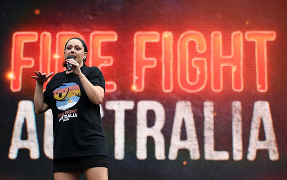 Celeste Barber on stage for Fire Fight Australia