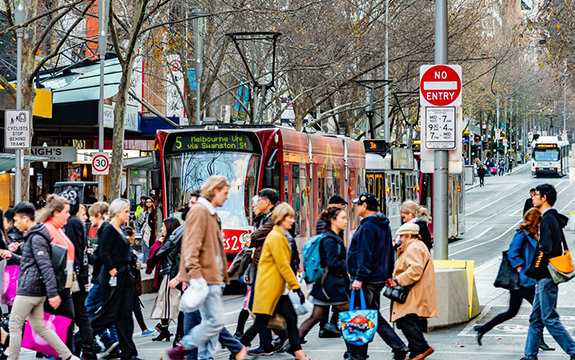 Walking accounts for about 90 per cent of all travel in Melbourne city centre, yet pedestrians are allocated only 24 per cent of street space.