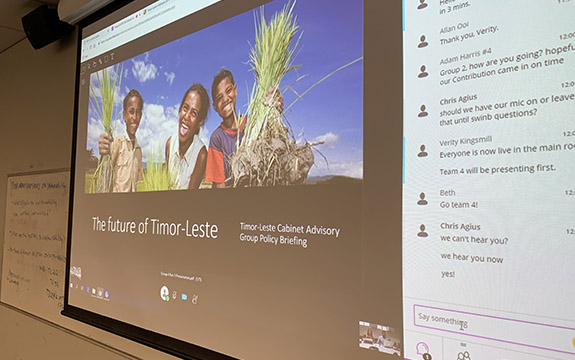 A slideshow showing Timor Leste policy program.