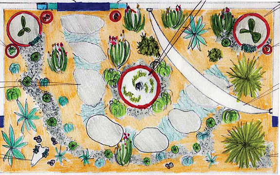 Concept drawing of a garden for the Melbourne International Flower and Garden Show