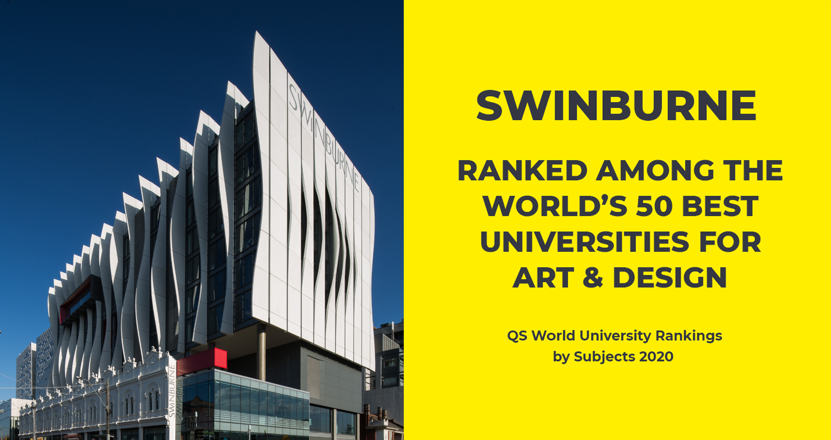 Tile image of Swinburne's performance in the QS World University Rankings by Subject 2020