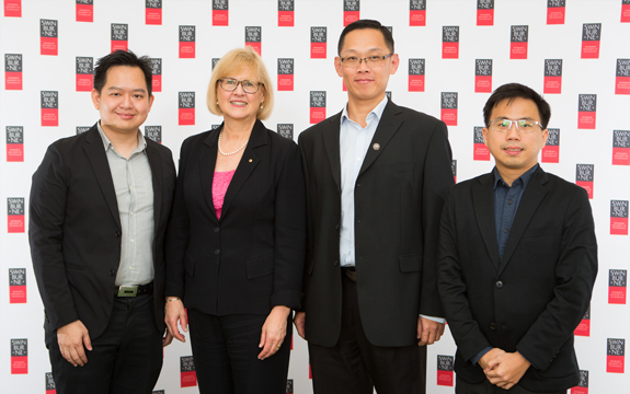 From left: Dr Tay Fei Siang, Vice-Chancellor Linda Kristjanson AO, Dean of the Faculty of Engineering, Computing and Science in Sarawak, Professor Su Hieng Tiong, and Dr Then Yi Lung.