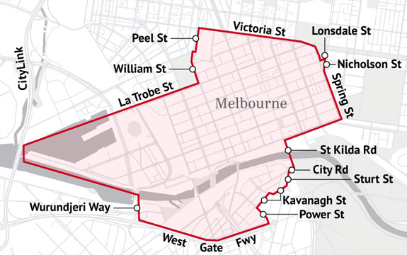 A proposal for where charges could be placed on congested roads around the CBD