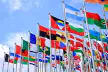World flags flying on flag poles