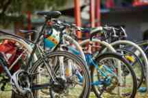 Bikes securely locked at Hawthorn campus bicycle parking area