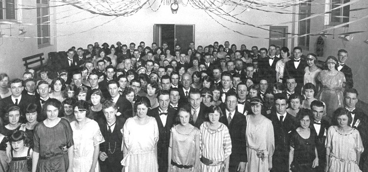 Engineering students at a ball in the early 1920s.