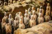 Excavated sculptures statues of the terracota army soldiers of Qin Shi Huang emperor, Xian, Shaanxi, China